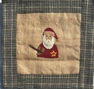 "Christmas Santa Pillow Cover Burlap Primitive Rustic Farmhouse 16"" x 16"""