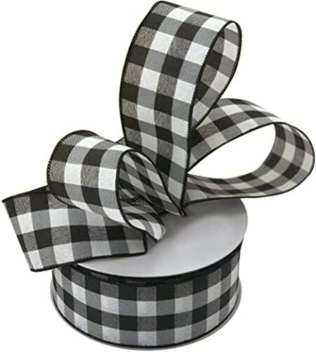 "25 YDS~Buffalo Plaid CHRISTMAS RIBBON~BLACK+WHITE CHECK Lrg 2.5""~25 Yards~Wired"