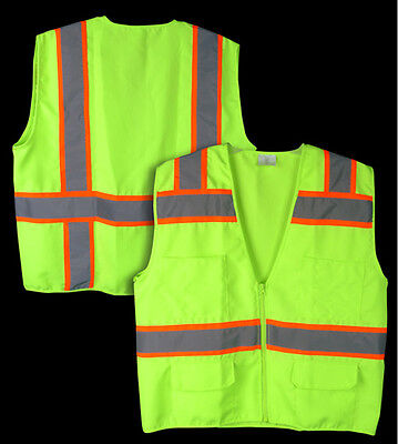 Small Ansi Class 2 Reflective Tape High Visibility Neon Green Survey Safety Vest