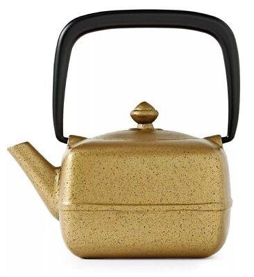 TEAVANA Metallic Gold Black Yoho Cast Iron Square Teapot 12 Oz With Infuser -