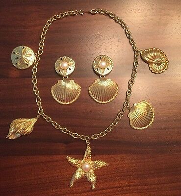 Kenneth Jay Lane Collection Avon Royal Sea Necklace Earring Set Runway