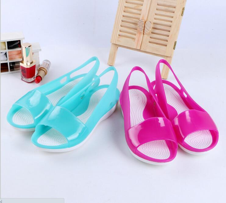 Women summer Fashion beach flat sandals open toe jelly hollow up colorful shoes