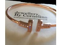 CORNELIUS Designer Bracelet/Bangle Rose Gold Plated With Diamanté RRP £110 new