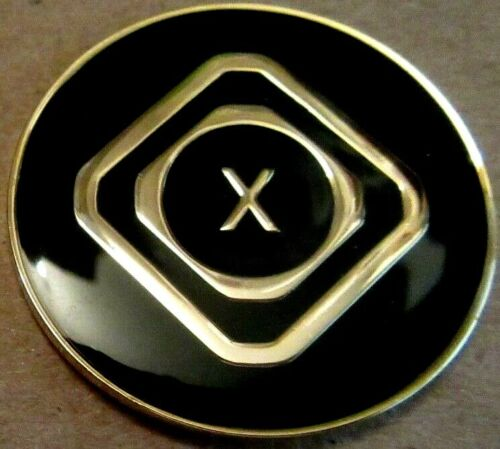 Just For Today Narcotics  Anonymous Black 10 Year MONTH NA Medallion Gold clean