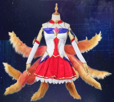 LOL the Nine-Tailed Fox Ahri Star Guardian Skin Cosplay Costume Dress Full (Star Fox Cosplay Kostüm)