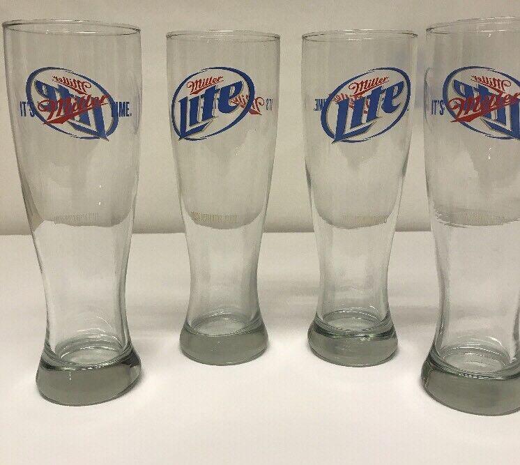 Miller Lite Tall Beer Bar Glasses Set Of Four Man Cave