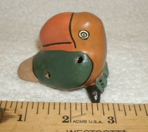OCARINA Clay Pottery Bird painted art Whistle TOUCAN MAYAN AZTEC unique