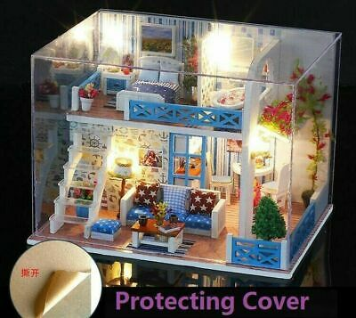 DIY Dollhouse Wooden Miniature Kit Doll House Cottage LED lights Kid's Gift US for sale  Chino