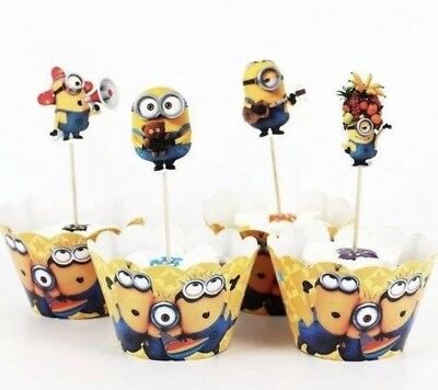 24 Piece Minions Happy Birthday Party Cupcake Wrappers And Toppers Decorations - Cupcake Minions