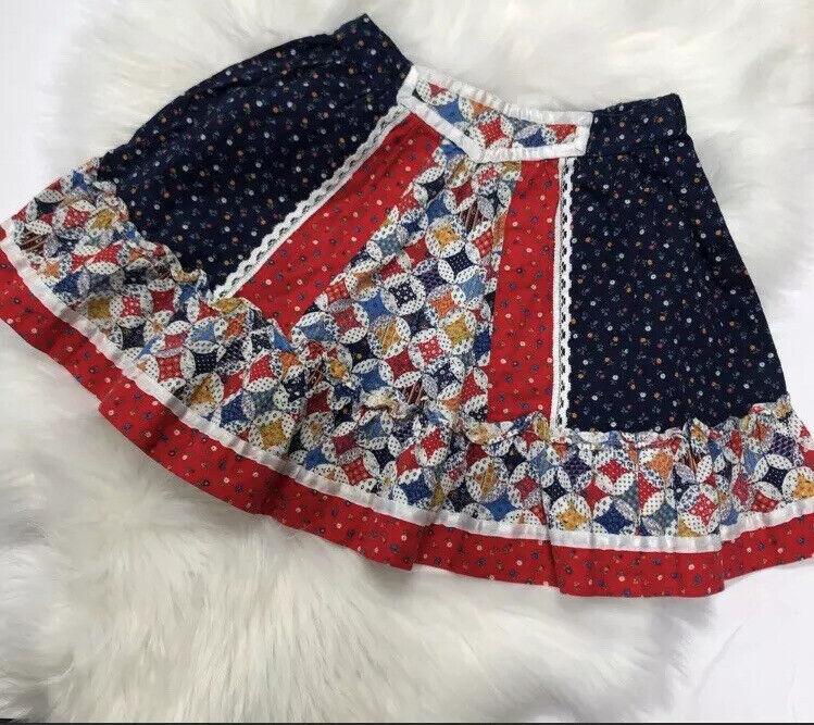 VTG 80s Girls Skirt Holly Hobby Calico Lace Size 6X Boho