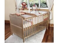 Country pine cot bed with baby changer top