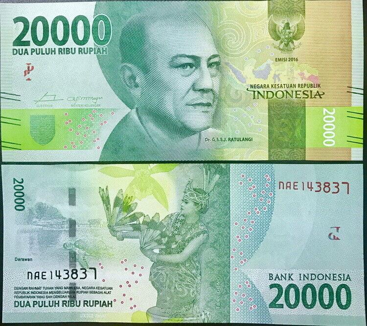 INDONESIA 20,000 20000 RUPIAH 2016 PRINT 2019 P 158 UNC