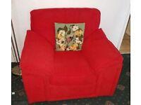 Sofa & armchair, red, (free glass coffee table)