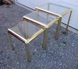 Set of Metal and Glass Nesting Tables