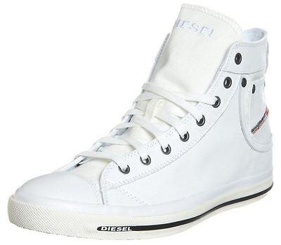 Iv-weiß Schuhe (Diesel Exposure iv Weiß Schwarz Neu Damen Leder Hi Trainers Schuhe Stiefel)
