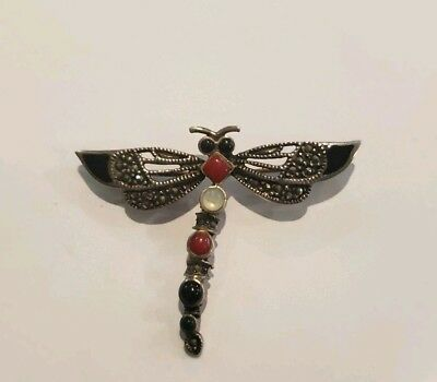 - VINTAGE STERLING SILVER MARCASITE CORAL AND ONYX DRAGONFLY PIN BROOCH