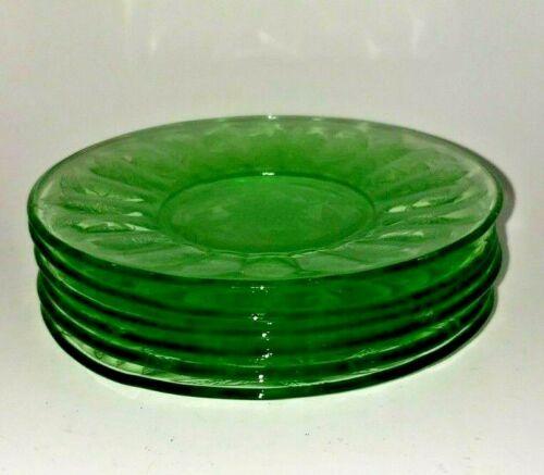 6 VINTAGE DEPRESSION GREEN VASELINE FLORAL GLASS DESSERT RIBBED PLATES DISHES
