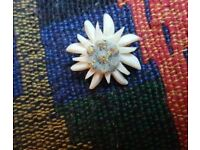 Vintage Carved Bovine Edelweiss Flower Brooch Pin Wartime Resistance Flower