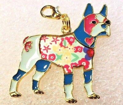 Boston Terrier Dog Hawaiian Shirt Enamel Alloy Purse Charm Zipper Pull Jewelry