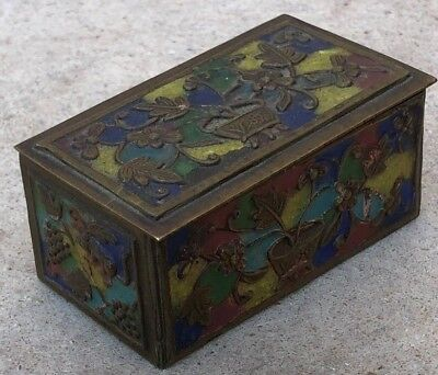 VINTAGE CHINESE ENAMEL BOX FLOWERS