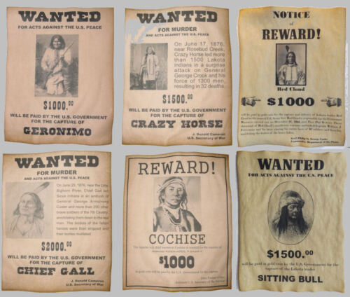 Set  of 6  Indian Wanted Posters Geronimo Cochise Crazy Horse Gall Sitting Bull