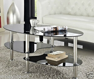 Cara Coffee Table And With Or Nest Of Tables Black Clear Glass Chrome Oval Set Ebay