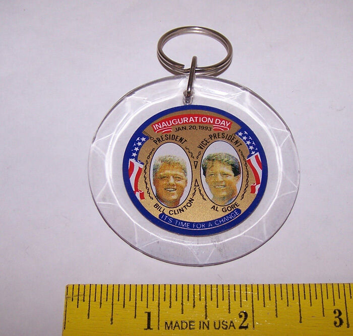 1993 BILL CLINTON & AL GORE Inauguration Day Lucite KEYCHAIN