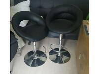 Leather bar-stools (Brand new) and Glass table and chairs.