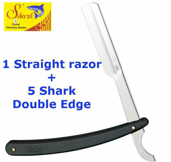 BARBER+STRAIGHT+CUT+THROAT+SHAVING+RAZOR+SHAVETTE+BLACK+HANDLE+%2B+5+Free+Blades