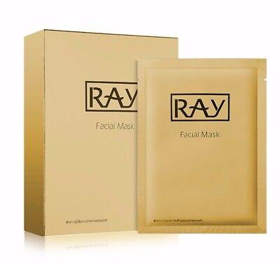 Thailand Ray Facial Silk Mask Moisturizing Box Of 10Pcs Gold Us Seller