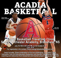 Acadia Basketball Travelling Clinic/Camp July 16 to July 19