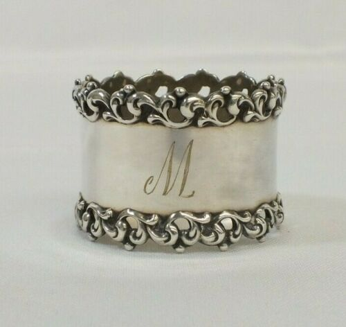 Antique Sterling Silver Monogramed M Repose design Napkin Ring