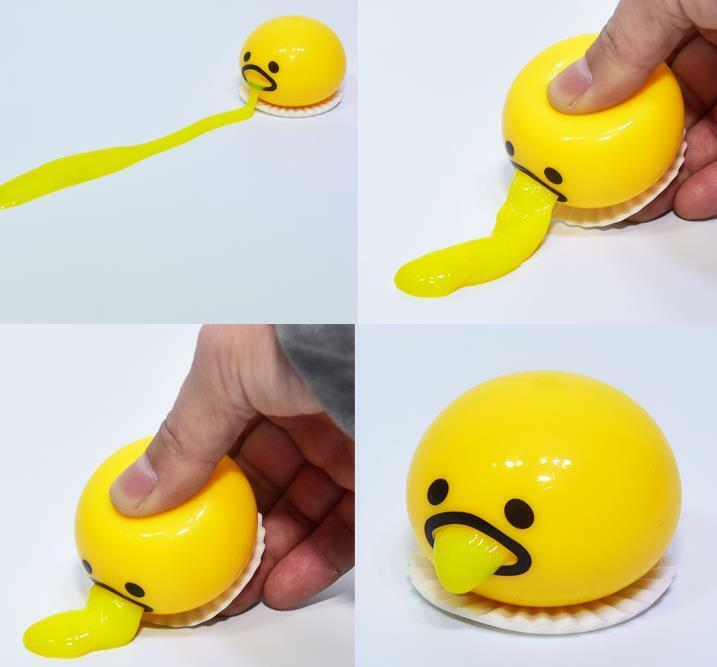 Shocker Vomiting Toy Egg Soft Gudetama Toy Yolk Out Funny Squeeze