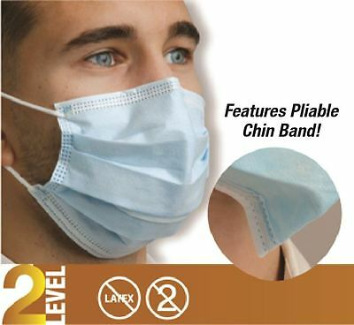 50x Defend Dual Fit Pleasted Earloop Surgical Flu Medical Face Mask Level 2 Blue