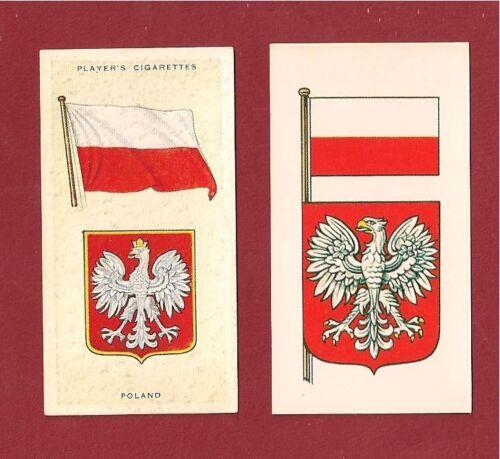 POLAND National Flag RZECZPOSPOLITA POLSKA 1905 & 1938 original cards