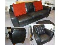 Black Leather 3 piece suite; includes a 3 seater sofa + 2 armchairs