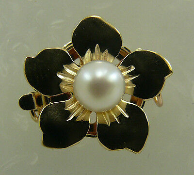 Freshwater White Flower 4.8  mm Pearl Clasp 14k Yellow Gold Single Strand