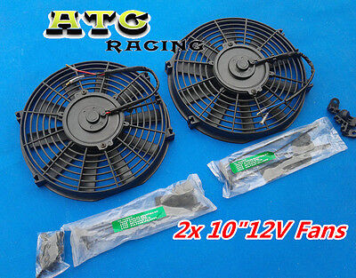 "2 X UNIVERSAL SLIM 10"" 12V ELECTRIC RADIATOR ENGINE BAY COOLING FAN 10 INCH"