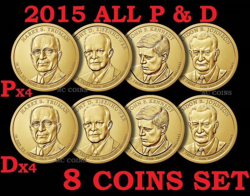 8 Coin Set 2015 P D President Truman Eisenhower JFK Johnson Presidential Dollar