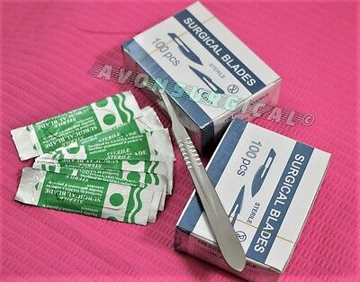 200 Scalpel Blades 15c Scalpel Handle 3 Surgical Dental Ent Instruments