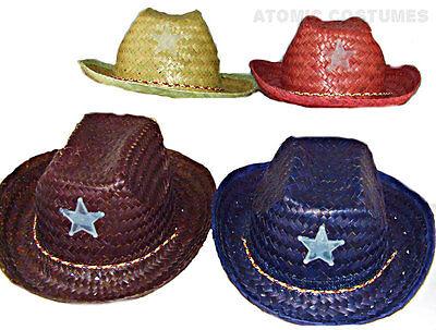 Childs Straw Cowboy Hat Halloween Costume Boys Girls Cow Cowgirl Sheriff Red - Cowboy Hat Halloween