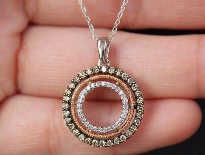 NEW 10K 1/2ct Champagne & White Diamond Circle of Love Pendant Necklace 18