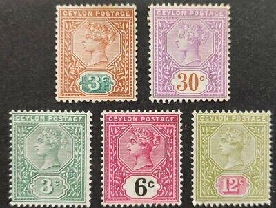 Ceylon 1893-1900, 5x stamps mh