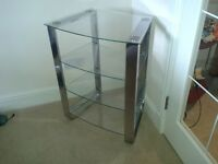 Three Tier Chrome Glass and Chrome tv Stand /Shelving Unit