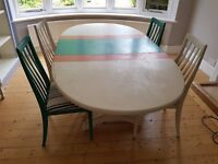 FREE Annie Sloan painted extending dining table and 4 chairs