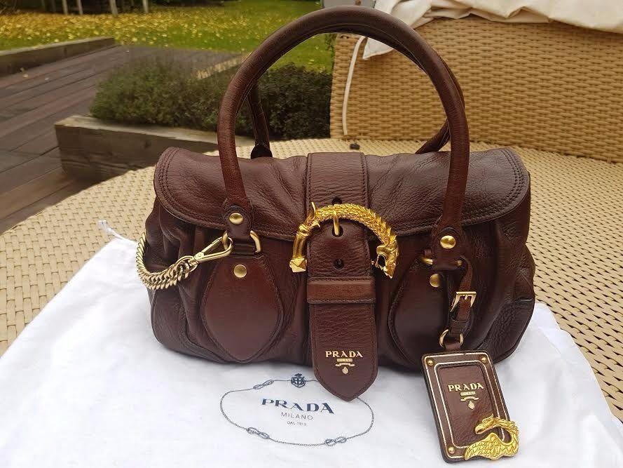 Authentic Prada Cervo Animalier Handbag Deerskin Leather Golden Dragon Brown Bag