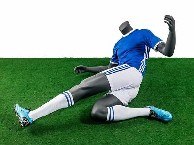 Headless Male Fiberglass Soccer Mannequin - Athletic Body In Tackling Pose
