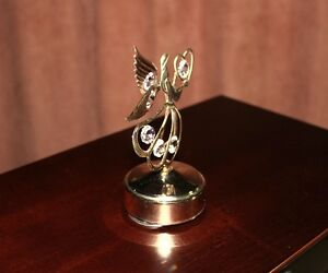 Lovely Angel With Wings Music Box  Crystals Rotates
