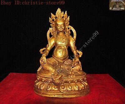 Tibet buddhism Bronze Gilt Yellow Jambhala Zambala god of wealth Buddha Statue