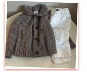 Knit Baby Sweater & Velour Pants
